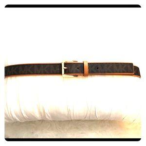 Michael Kors MK Signature Monogram Gold Logo Belt
